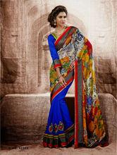 Bollywood half georgette & half chiffon latest blue saree / sarees at wholesale