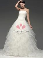 ANNIKA - A-line Strapless Chapel train Tulle Wedding Dress