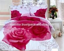 Pink rose pattern pure cotton bedding comforter duvet cover set