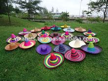 Wide Brim Colored Natural Straw Hat