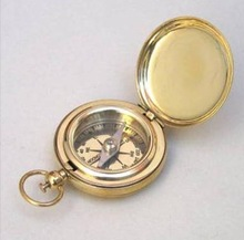 Nautical Brass Brunton Compass with wooden box , Brass Compasses , 2 INCH POCKET COMPASS WITH LID AND COVER ,