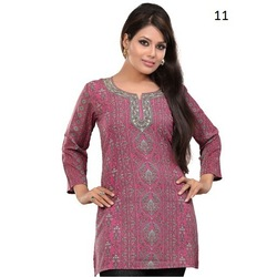 Dark Pink Embroidered Long sleeves Cotton Straight Kurti