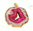 24 kt gold electroplated edge natural hot pink druzy pendant huge 80 * 55 MM