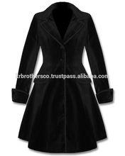 Ladeis Black Velvet Gothic Frock Coat
