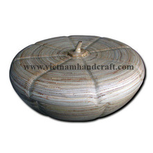 Best selling eco-friendly handpainted Vietnamese pumpkin shaped bamboo cosmetic jars in natural color