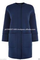 WAREHOUSE Womens Ladies Blue Neoprene Scuba Oversize Cocoon Coat Jacket