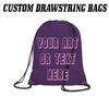 printed purple drawstring bags