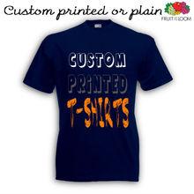 dark navy customised t shirts. custom printed navy cotton t shirts
