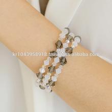 White Opal & Black Diamond Crystal Bracelet Korean Fashion Handmade Jewelry SWB004