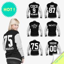 2014 unisex baseball jacket college style casual winter jacket print stylish varsity GEEK NEW YORK FOUR 20 ONE 87 WASTED YEEZUS