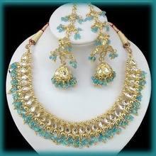 22k Gold E. India, Greek, Egyptian Necklace. Chandelier Earring Set C