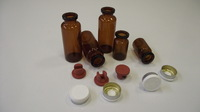 6 and 20 ml injection vials, amber and flip-off alu cap, rubber stopper