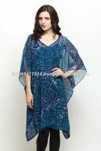 Ladies animal print chiffon kaftan,ladies evening wear kaftan,Stunning blue leopard print kaftan
