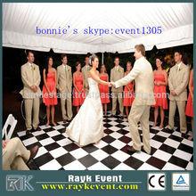 black white covering wedding dance floor wood