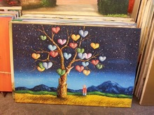 Color full tree oil painting