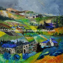 Unique oil painting Landscape Ardennes 7741