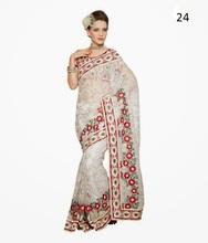 Exclusive Bridal Saree   White Red Designer Saree   Sari Blouse Stitching