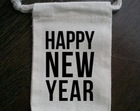 Happy New Year 2015 Cotton Muslin Drawstring Bags