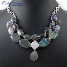 Luxurious Labradorite & Pearl Gemstone German Silver Necklace