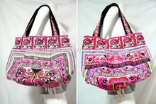 HIPPIE BOHO thailand handmade festival hmong Large Hmong Hil Tribal Pom Pom fabric Tote Bag Handbag