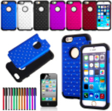 New Hybrid Rugged Rubber Bling Crystal Hard Case Cover for iPhone 6, iPhone 5 and iPhone 4 and for Samsung S5 and Note 3