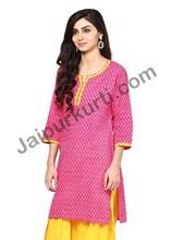 Jaipur Kurti Women Pink Printed Kurta- JK2129