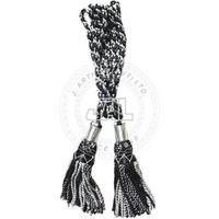Bagpipe Cords - Silver / Black Silk Bagpipe Cords
