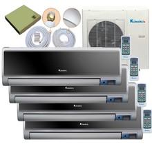 4 Zone Multi Split 4 x 9,000 Btu Ductless Wall Mount - DC Inverter Air Conditioner-Heat Pump-16 SEER-220 V