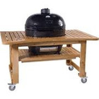 New Primo Ceramic Charcoal Smoker Grill On Teak Table - Oval Junior