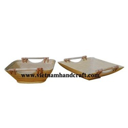 Best selling environmentally friendly hand made coiled bamboo fruit baskets with bamboo & rattan handles