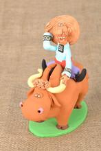 "Homemade ceramic money box ""Cossack Riding a Bull"""