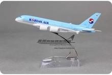 16cm Korean Air Airbus A380 Airlines Alloy Aeroplane Model Airways Plane Model Diecas