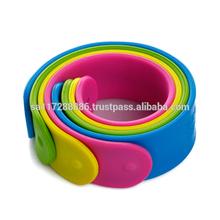 fasion silicone printed slap bracelet/reflective slap band