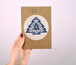 """New Year s post card with embroidery """"Christmas Tree"""""""
