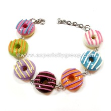 Girls Teen cute delicious colorful donut charm bracelet