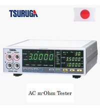 Measurement of battery discharge system by Tsuruga Electric Corporation product : AC m-ohm Tester, 1 kHz frequency type