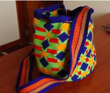Wayuu Mochila Blue and yellow design. Medium Size -STOCK. A single Thread