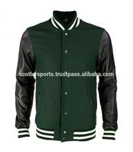 New Style Varsity Jacket Melton Wool Body & Leather Arms