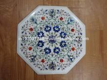 Handmade Pietra Dura Inlay Green Marble Dining Coffee Corner Table Top