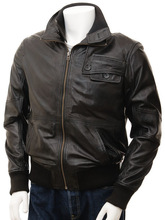 pure black leather for man high quality leather jacketman pakistan factory very competitive price