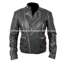 Brando Motorcycle Men Black Top Grain Genuine Cow Hide Leather Jacket