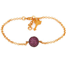 Fashionable Designer Pink Sapphire Bracelet, Charms Beads Chain Silver Bracelets