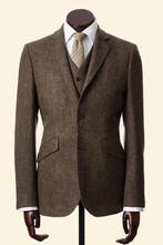 Custom Made Brown Fine Herringbone Lambswool Tweed 3 Piece Suits for men