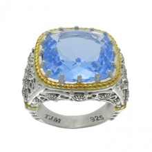 925 Sterling Silver Blue Synthetic Quartz and Marcasite Ring With Gold Plated (MR00671BSQ-G)
