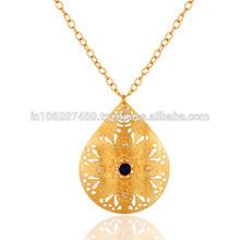 Textured Design Blue Aventurine Pendant, Latest Indian Artisans Handmade Pendant Jewelry