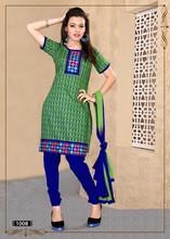 Latest short chudidar green & blue embroiedred with printed salwar kameez