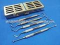 pcs 5 lucas periodontal dental hueso curetas con caja de esterilización de cassette