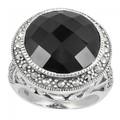 925 стерлингового серебра кольцо с марказит и естественный черный камень оникс( mr00058bx)