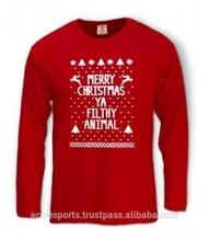 Custom full sleeve family christmas t shirt , custom christmas clothes new design printing t shirt fashion christmas t shirt