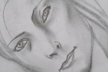 Woman s portrait drawn with black graphite